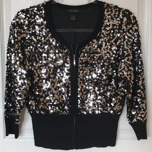 WHITE HOUSE BLACK MARKET Sequin Zip Sweater Size S